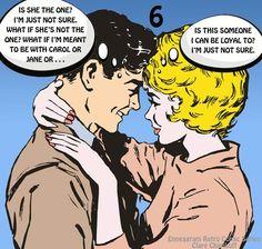 Retro comic enneagram type six couple doubting