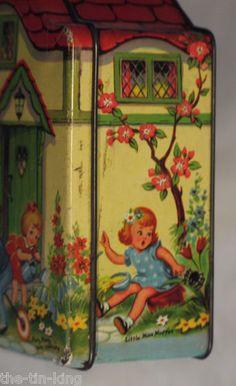 Superb Blue Bird Toffee Confectionery Figural Cottage Tin Nursery Rhymes C1940s   eBay