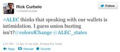 How is union busting not intimidation? is #ALEC even concerned?