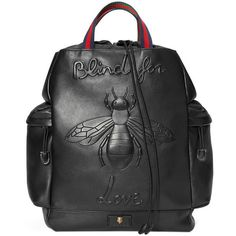 Gucci Bee Embossed Drawstring Backpack (€1.855) ❤ liked on Polyvore featuring men's fashion, men's bags, men's backpacks, backpacks, bags, black, men, mens drawstring backpack, gucci mens backpack and mens leather backpack