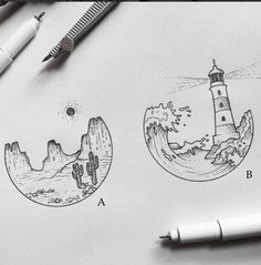 Want something like the lighthouse one to match my hot air balloon tattoo 😍 - Leuchtturm Tattoo - Tattoo P, Tattoo Drawings, Tattoo Quotes, Tattoo Thigh, Tattoo Sketches, Inspiration Art, Art Inspo, Tattoo Inspiration, Air Balloon Tattoo