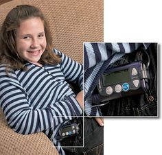 Aimee Payne has mastered the new insulin pump she started using this fall. The pump delivers a constant level of insulin through a soft flexible catheter just under the skin in her abdomen.