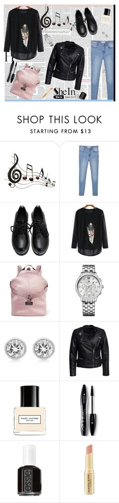 """""""SHEIN - Black-Long-Sleeve-Feather-Print-Loose-T-Shirt"""" by fashionaddict-il ❤ liked on Polyvore featuring Benzara, MANGO, adidas, Tommy Hilfiger, Michael Kors, Sisters Point, Marc Jacobs, Lancôme, Essie and Napoleon Perdis"""