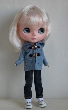 Blue Duffle coat for Blythe  Dal  JerryBerry by caromaya on Etsy, $18.50