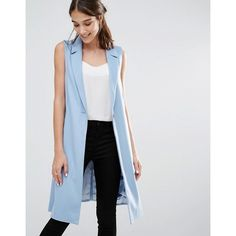 Closet Long Line Sleeveless Blazer (€47) ❤ liked on Polyvore featuring outerwear, jackets, blazers, longline blazer, sleeveless blazer, no sleeve jacket, long line jacket and longline sleeveless blazer