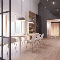 Sedie bianche legno che impostano un'efficace cornice per il tavola - design scandinavo appartamento