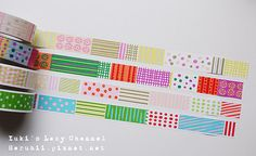 use patterned washi tape to attach kid info printed on cards to tags