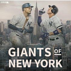 Giancarlo Stanton and Aaron Judge - The New Giants of New York Mlb Giants, Yankees Logo, Damn Yankees, Yankees Fan, New York Yankees Baseball, New York Giants, Giancarlo Stanton, Baseball Quotes, Baseball Stuff
