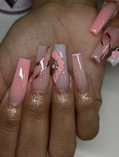 Bling Acrylic Nails, Square Acrylic Nails, Summer Acrylic Nails, Best Acrylic Nails, Acrylic Nail Designs, Marble Acrylic Nails, Classy Acrylic Nails, Edgy Nails, Aycrlic Nails