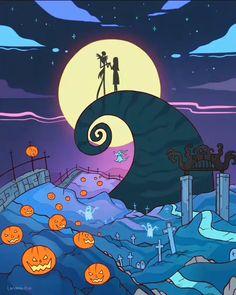 "🌟Lärienne🌙 Karolina Heikura🌌 on Instagram: ""I hope you had fun Halloween!""--- #timburton #nightmarebeforechristmas #jackskellington #2danimation #jackandsally #digitalart #artofdrawing #colorfulart #halloweenart #instartist #spookyart #illustration #cartoonstyle Aladin, Nightmare Before Christmas Tattoo, Casa Anime, 8bit Art, Christmas Aesthetic Wallpaper, Christmas Drawing, Halloween Art, Sailor Halloween, Anime Scenery"