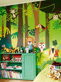 Children's room decorated with a jungle mural