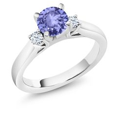 1.12 Ct Round Blue Tanzanite 925 Sterling Silver Ring. This item is proudly custom made in the USA. 100% Satisfaction Guaranteed. Gemstones may have been treated to improve their appearance or durability and may require special care.