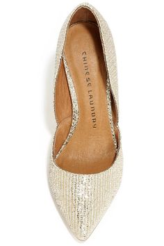 Chinese Laundry Stilo Champagne Glitter Gold D'Orsay Pumps