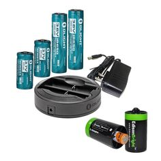 Olight Omni-Dok Universal Battery Charger, 2X Olight 3400mAh Protected 18650 Rechargeable Li-ion Battery, 2X Olight RCR123A rechargeable Li-ion battery with 2 X EdisonBright AA to D type battery spacer/converters * Discover this special product, click the item shown here : Camping stuff