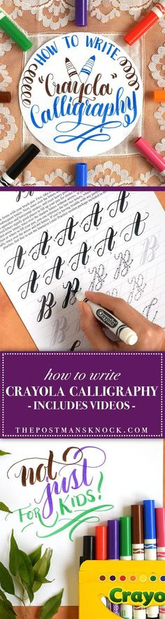 "to Write Crayola Calligraphy For when you want to add words to your work. How to Write ""Crayola"" Calligraphy Crayola Calligraphy, Calligraphy Video, How To Write Calligraphy, Calligraphy Letters, Modern Calligraphy, Calligraphy Handwriting, How To Caligraphy, Calligraphy Lessons, Calligraphy For Kids"