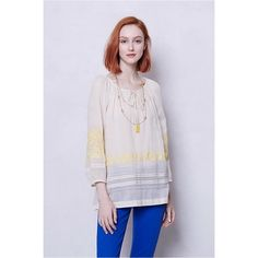 """Anthropologie Noonglow Peasant Top Anthropologie Brand Floreat Noonglow peasant top. Sheer. Pullover styling. Cotton. 26.5"""" long. Great condition. Anthropologie Tops Blouses"""