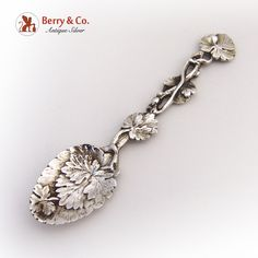 Aesthetic Coffee Spoon Leaf Vine 1892 London Sterling Silver