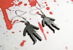 Zombie Earrings, dangle Halloween horror goth undead walking dead