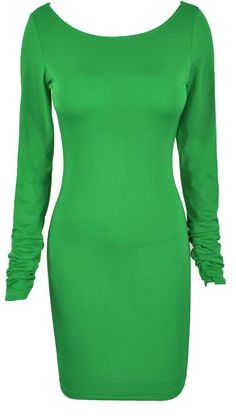 'Aimee' Green Crystal Backless Bodycon Dress - Sale