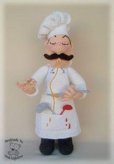 "Amigurumi chef- ""chef make me a meal"" Crochet Amigurumi, Crochet Food, Cute Crochet, Amigurumi Patterns, Amigurumi Doll, Crochet Crafts, Doll Patterns, Crochet Projects, Crochet Dolls"