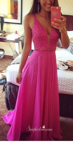 2016 long prom dresses, fuchsia beaded long chiffon prom dresses, ball gown