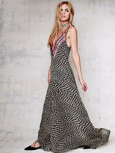 Mara Hoffman Deep V Checkers Gown at Free People Clothing Boutique