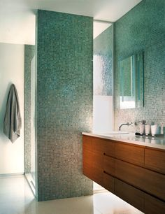 modern spa bath with floating cabinets groove drawer/cabinet self pulls