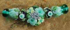 Glass Lampwork Beads Teal Lavender Flower Garden by carolynsbeads, $20.00