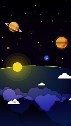 Minimal Solar System Clouds Planets IPhone Wallpaper - IPhone Wallpapers