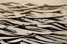 """Atlantic"" woodblock by Merlyn Chesterman of Hartland, North Devon. http://www.woodblock.eu/ Tags: Linocut, Cut, Print, Linoleum, Lino, Carving, Block, Woodcut, Helen Elstone, Sea, Ocean, Waves."
