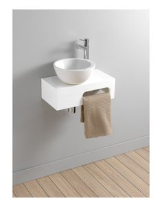 Lave-mains complet en céramique blanc sur console pour petit espace - Salle de bain, WC