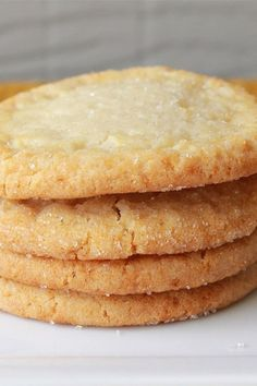 I love sugar cookies that are crisp on the outside and very chewy on the inside. This recipe can easily be made into snickerdoodle cookies by rolling the dough in cinnamon-sugar before baking. Chewy Sugar Cookie Recipe, Chip Cookie Recipe, Easy Cookie Recipes, Baking Recipes, Fun Desserts, Dessert Recipes, Fun Recipes, Sweet Potato Cookies, Cherry Cookies