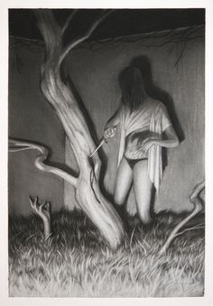 """Sam Wolfe Connelly - """"Witch of the Branches""""  graphite and carbon - 11"""" x 17"""" - (custom archival frame and mat)"""