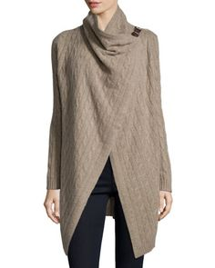 Cashmere Clasp Drape-Front Cardigan, Tan by Neiman Marcus at Neiman Marcus Last Call.