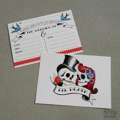 Rockabilly Skulls Wedding Invitations from Rae Henry Designs. Rockabilly 50s Gothic Punk wedding
