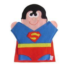 Superman hand puppet Puppet Patterns, Felt Patterns, Amigurumi, Superman, Art For Kids, Crafts For Kids, Puppets For Kids, Felt Quiet Books, Kids Christmas