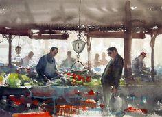 Joseph Zbukvic Watercolor Landscape, Watercolor Architecture, Croquis, Watercolor Portraits, Watercolor Artists, Watercolor Paintings, Watercolors, Gouache Painting, Joseph Zbukvic