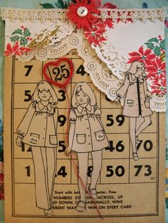 Old Paper Doilies and Bingo cards for Christmas --fun piece to make Vintage Paper Dolls, Vintage Crafts, Junk Journal, Christmas Bingo Cards, Christmas Fun, Bullet Journal Cover Ideas, Recycled Paper Crafts, Art Graphique, Card Tags