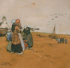 Jan Willem 'Willy' Sluiter (Amersfoort 1873-1949 Den Haag) In de duinen bij Katwijk 'Vader komt' - Kunsthandel Simonis en Buunk, Ede (Nederland).