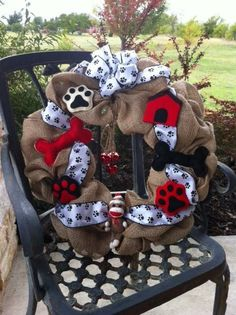 Pet Themed Burlap Wreath With Bones Dog House and by forthechins, $60.00