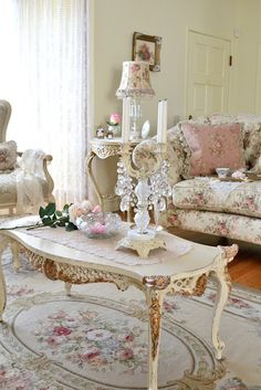 What a strikingly feminine, gorgeous pink and cream hued living room. #pink #shabby #chic #home #decor #living_room #girly