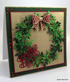 Ingredients: Sue Wilson Dies -                             Holly Sprig                             Trellis Bow                             Plain Bow                             Believe Foundation card in Red, Brunswick Green, Light Green and Vintage Gold Red Apple Twinkles