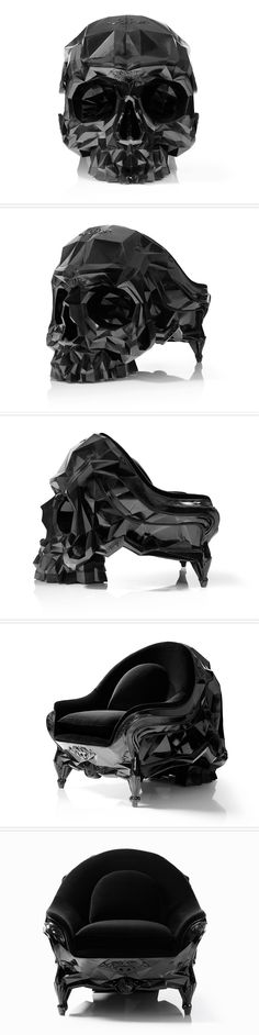 Skull Armchair, details at http://www.harow.fr/skull.htm. How gorgeous is this?! Would also love one with a deep red velvet cover to go with the black one.