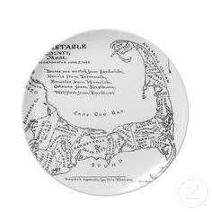 Vintage Map of Cape Cod (1890) Party Plate from Zazzle.com