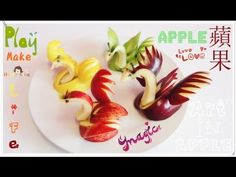 ▶ Art In Apples Show - Fruit Carving Apple Swan - when finished spray with lemon juice to keep from turning yellow .Beautiful center pieces for the holidays