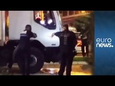 Moment French police fire upon Nice attacker in lorry