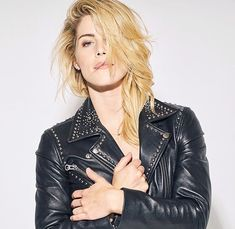 """Emily Bett Rickards News on Instagram: """"💣🔥 Emily Bett Rickards photographed by the Riker Brothers // May 2nd, 2018.  Photo 1 of 3.  📸: Photographed by @rikerbrothers 💇🏼♀️:…"""" Emily Bett Rickards, Brother, Leather Jacket, News, Jackets, Instagram, Fashion, Studded Leather Jacket, Down Jackets"""