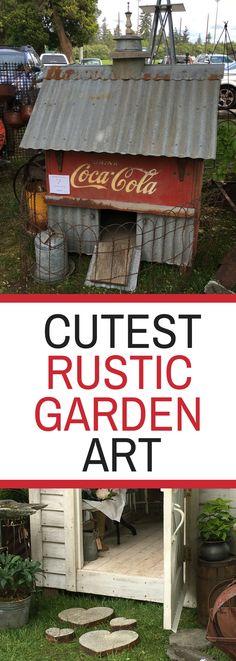 Cutest Rustic Garden Art - Look at the newest trends in garden art from a large garden art show!