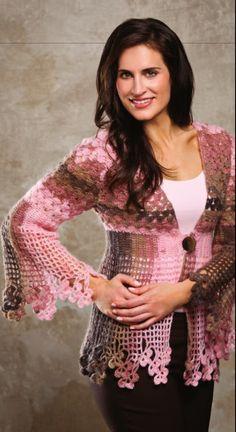 Shamrock Lace Sweater.  Sharon Hubert Valencia.  4-5 ply 267m/ 50g x 7.  Crochet cardi.  Crochet! Spring 2012.  Newsstand.