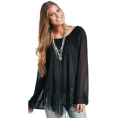 Forget the little black dress and go for this little black top!  Women's Black Long Sleeve Ashby Fringe Blouse...